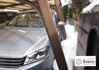 千葉市若葉区 降雪被害によるカーポート修理